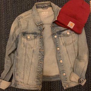 Zara Denim Jacket + Carhartt Toque